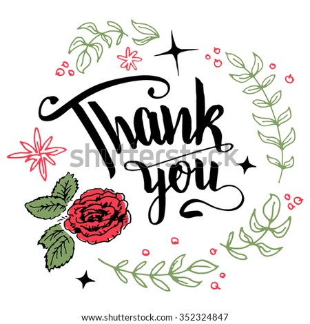 Thank you. Brush pen calligraphy in floral wreath isolated on white background - stock vector