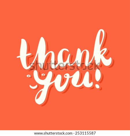 Thank you card. Hand lettering. - stock vector
