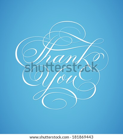 Thank you card hand lettering in script calligraphy style - vector - stock vector