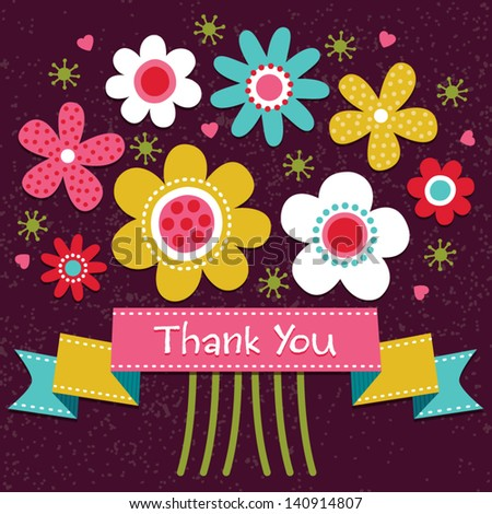 Thank you card in bright colors, with vintage ribbon banner and retro style flower posy. Grunge layer can be turned off. See my folio for JPEG version and for this design in other colors. - stock vector