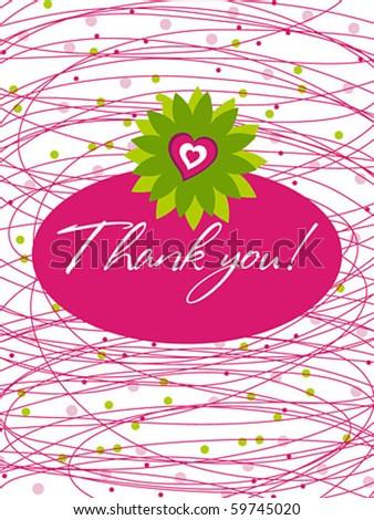 thank you card line - stock vector