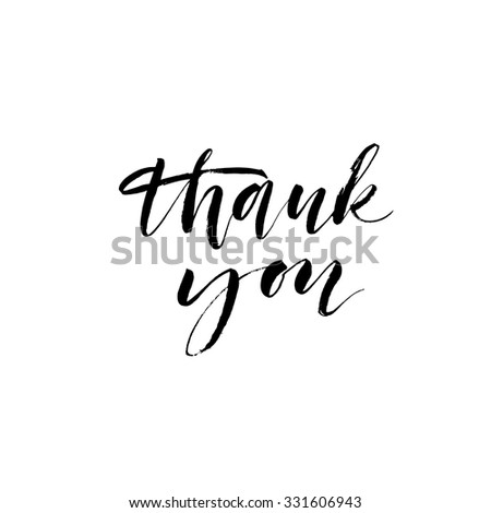 Thank you card. Modern calligraphy. Ink illustration. Isolated on white background. Hand drawn lettering.  - stock vector