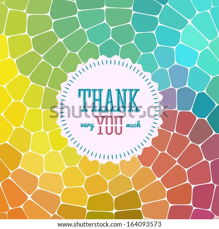 Thank you card on colorful magic background. Gratitude card for different occasions. - stock vector
