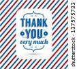 Thank you card on tricolor grunge background. Gratitude card for different occasions. Vector image. - stock vector