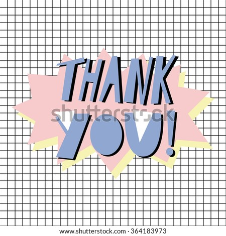 Thank you - card template in retro eighties style 2 - stock vector