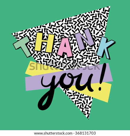 Thank you - card template in retro eighties style 4 - stock vector