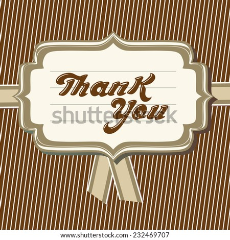 Thank you card. Vector typography thank you message.  - stock vector