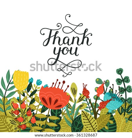 Thank you card with hand drawn lettering and cute flowers isolated on white background. Vector calligraphic card - stock vector