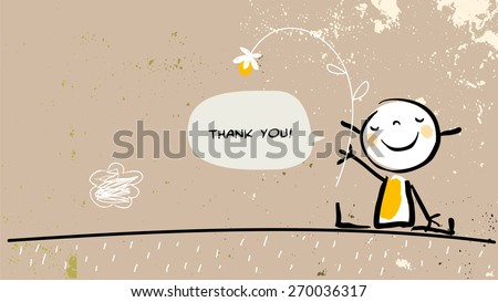 Thank you card with happy girl holding a flower, saying thank you in a speech balloon. Cartoon sketch, doodle, vector illustration.  - stock vector