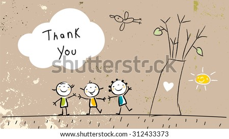 Thank you card with happy kids group near tree, saying thank you in a cloud. Cartoon sketch, doodle, vector illustration.  - stock vector