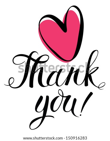 Thank you card with heart - stock vector