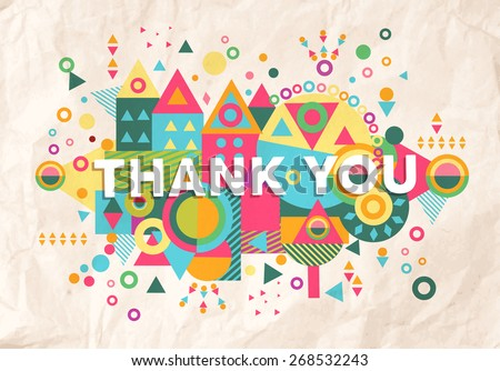 Thank you colorful typography Poster. Inspiring motivation quote background ideal for greeting card design. EPS10 vector file. - stock vector