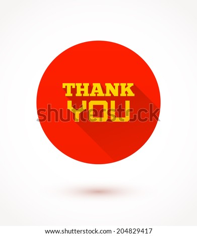 Thank you flat icon. Vector trendy illustration. - stock vector