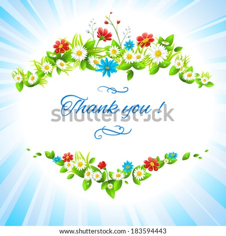 Thank you floral card with place for text - stock vector