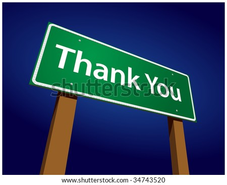 Thank You Green Road Sign Illustration on a Radiant Blue Background. - stock vector