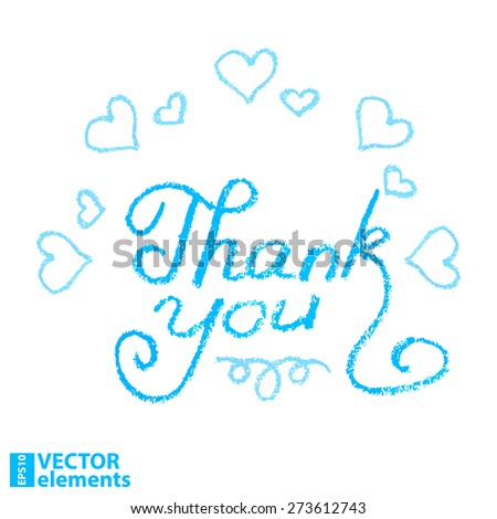 thank you, hand draw vector illustration - stock vector