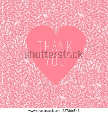 Thank You Hand Drawn Card With Heart Label - stock vector