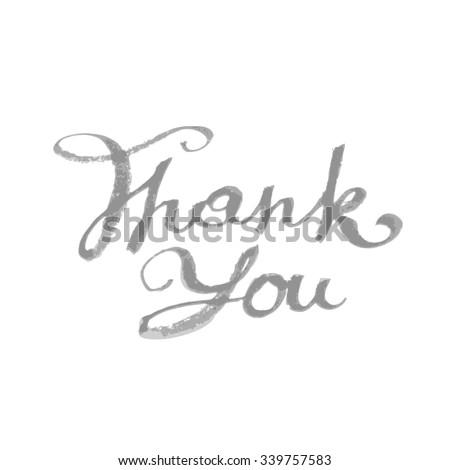 Thank you hand drawn lettering handmade scribble calligraphy text. Vector file is EPS8. - stock vector