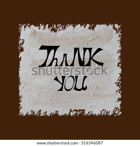 THANK YOU hand lettering handmade calligraphy - stock vector