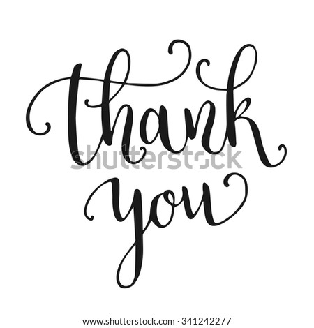 Thank you hand lettering isolated on white background. Vector illustration - stock vector