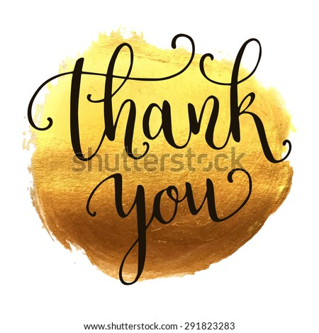 Thank you hand lettering on splash hand drawn abstract colorful golden textured background. Template for your design. Vector illustration - stock vector