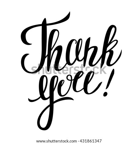 "Thank you hand lettering. Vector illustration with lettering  ""Thank you!"" isolated on white background. - stock vector"