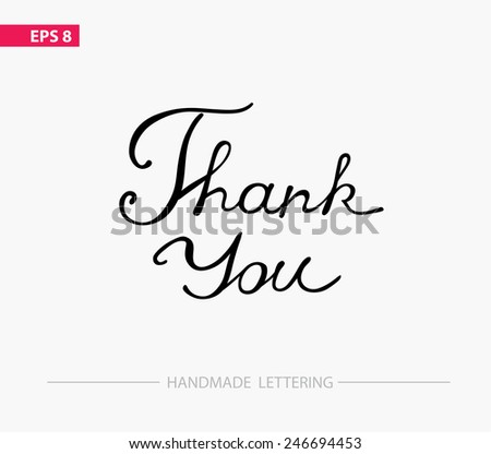 Thank you - handmade lettering - stock vector