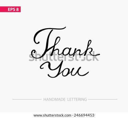 Thank you - handmade lettering - stock vector
