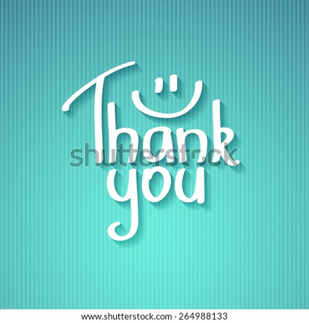 thank you, handwritten text with shadow on striped cardboard - stock vector