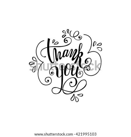 Thank you handwritten vector illustration, black brush pen lettering isolated on white background.  - stock vector