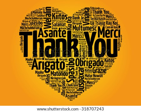 Thank You in many languages, love heart vector concept - stock vector