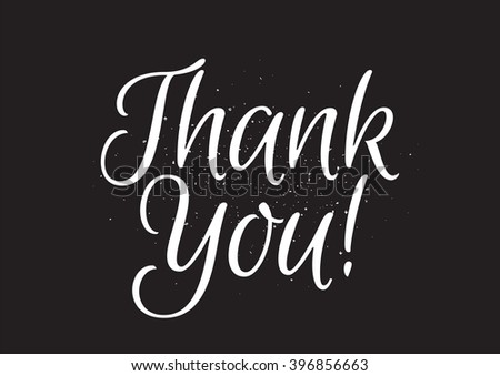 Thank you inscription. Greeting card with calligraphy. Hand drawn lettering design. Usable as photo overlay. Typography for banner, poster or apparel design. Isolated vector element. Black and white. - stock vector