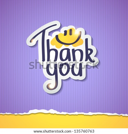 Thank You inscription on paper sticker, vector illustration - stock vector