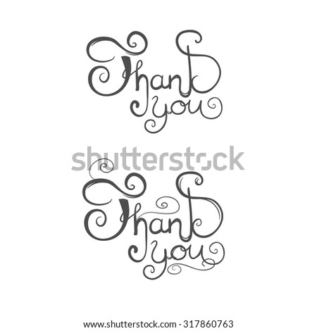 thank you, lettering - stock vector