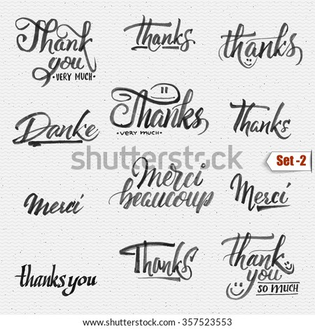 Thank you, merci beaucoup, danke - typographic calligraphic lettering It can be used to design greeting cards, magazines, posters, - stock vector