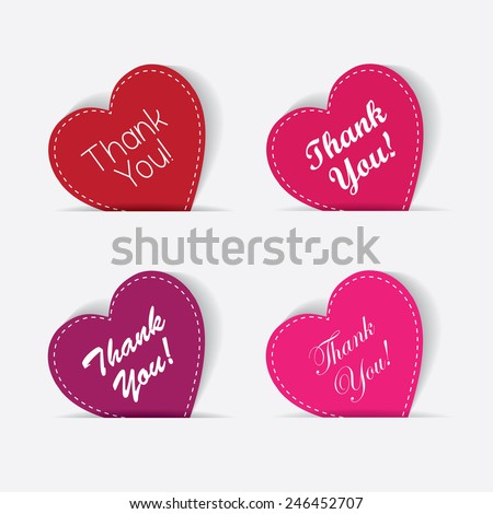 thank you note - hearts set collection in red, pink and purple color with handwritten calligraphic thank you message - stock vector