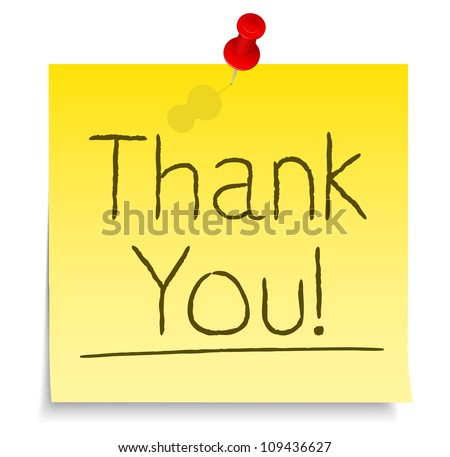 Thank You Post-it Note, vector eps10 illustration - stock vector