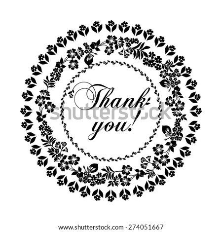 Thank you postcard. Black  and white color. Vector Version - stock vector