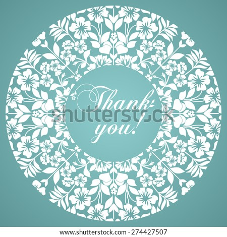 Thank you postcard. Floral designs in a circle. Black and white color. Vector Version - stock vector