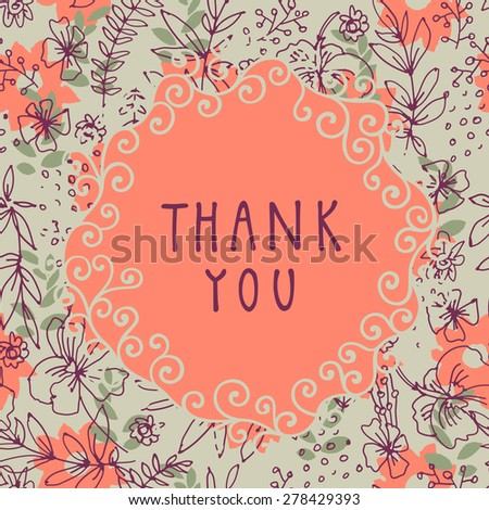 Thank you shabby chic hand-drawn floral greeting card illustration on seamless background in vector. Vintage design ornate frame with swirls - stock vector