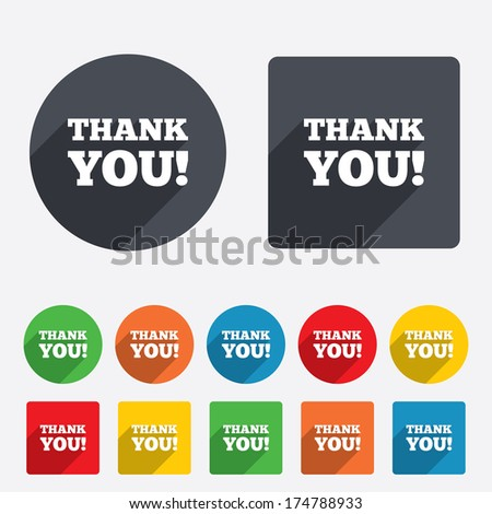 Thank you sign icon. Gratitude symbol. Circles and rounded squares 12 buttons. Vector - stock vector