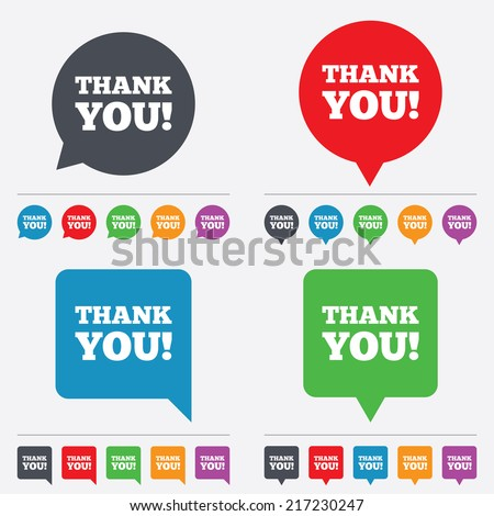 Thank you sign icon. Gratitude symbol. Speech bubbles information icons. 24 colored buttons. Vector - stock vector