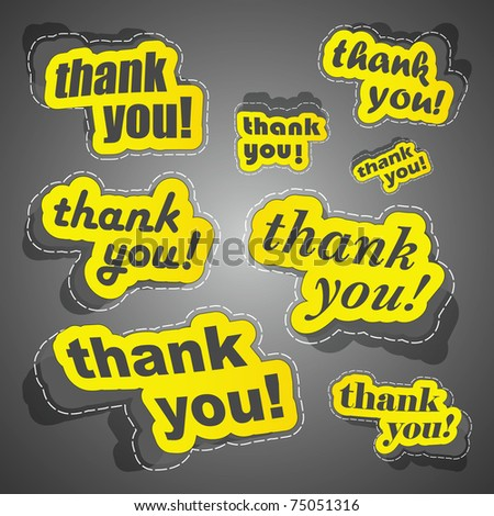 THANK YOU. Sticker collection. Vector illustration (eps10). - stock vector