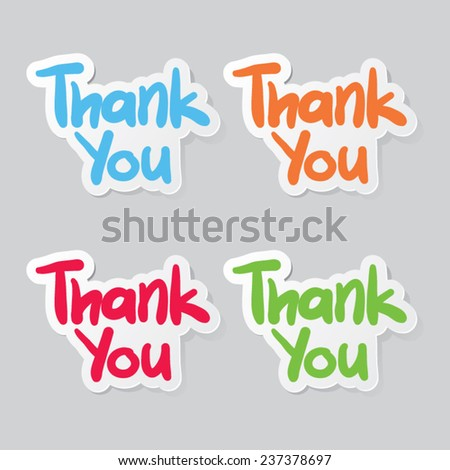 Thank You Sticker Labels - stock vector