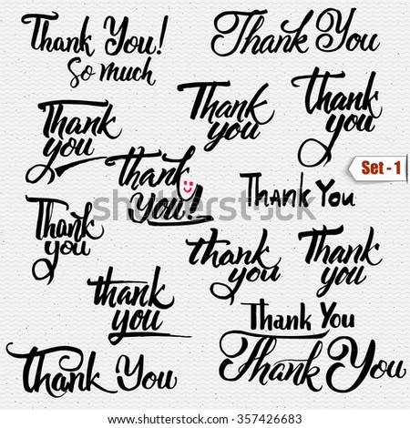 Thank you - typographic calligraphic lettering It can be used to design greeting cards, magazines, posters, - stock vector