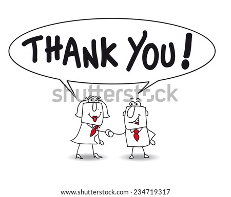 Thank you very much. Joe the businessman and Karen the businesswoman say thank you - stock vector