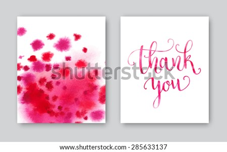 Thank you watercolor card template. Bright hand painted background. Vector illustration - stock vector