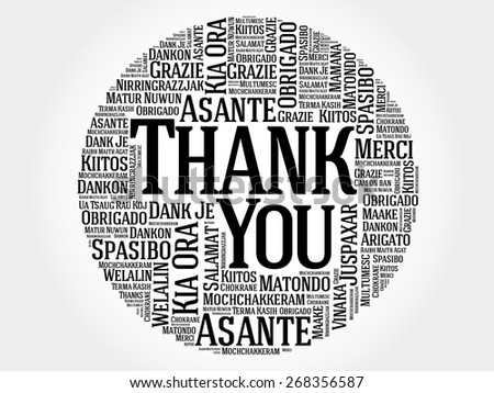 Thank You Word Cloud in different languages - stock vector