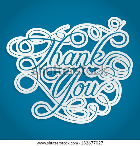 thank you words with swirls - stock vector