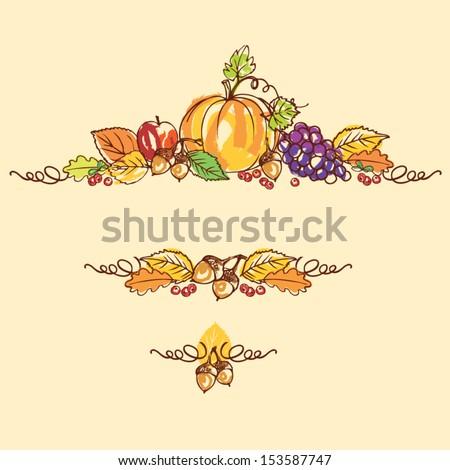 Thanksgiving autumn background vector illustration - stock vector